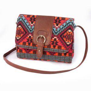 Brash Orange & Blue Tribal Cross Body Bag